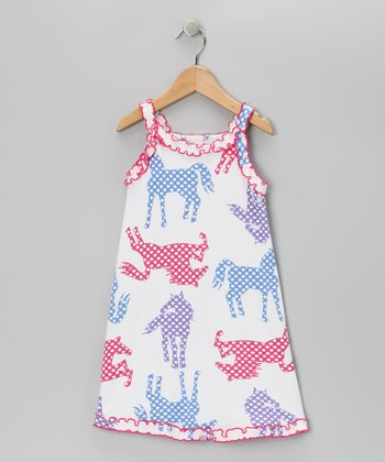 White Polka Dot Pony Nightgown - Toddler