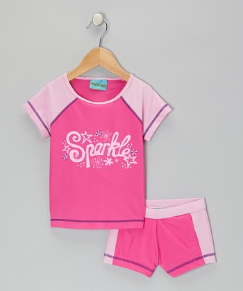 Pink 'Sparkle' Rashguard Set - Girls