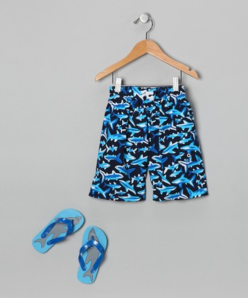 Blue Shark Boardshorts & Flip-Flops - Boys