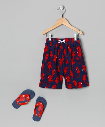 Blue Sea Horse Boardshorts & Flip-Flops - Boys