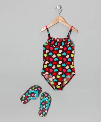 Brown Heart One-Piece & Flip-Flops - Girls