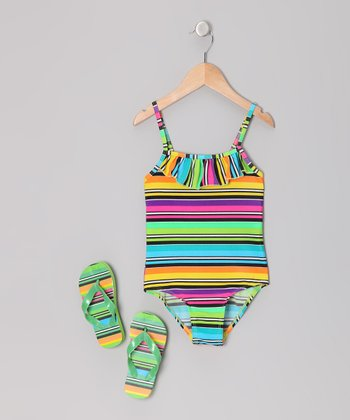 Rainbow Stripe One-Piece & Flip-Flops - Girls