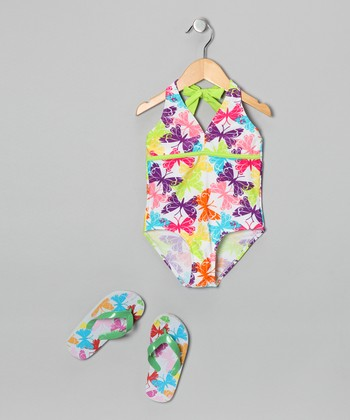 White Butterfly One-Piece & Flip-Flops - Girls