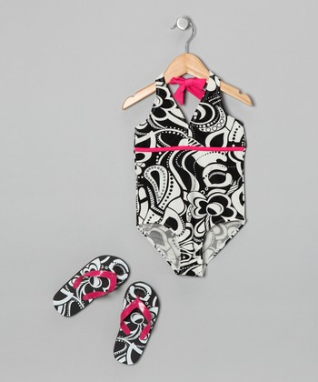 Black & White Flower One-Piece & Flip-Flops - Girls