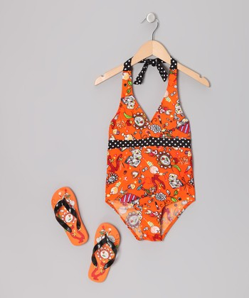 Orange Flower One-Piece & Flip-Flops - Girls