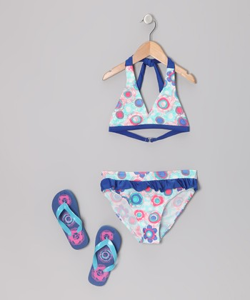 Blue Cotton Candy Bikini & Flip-Flops - Girls