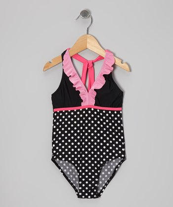 Black & Pink Polka Dot One-Piece - Girls