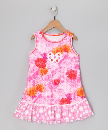 Pink Floral Heart Ruffle Dress - Toddler & Girls