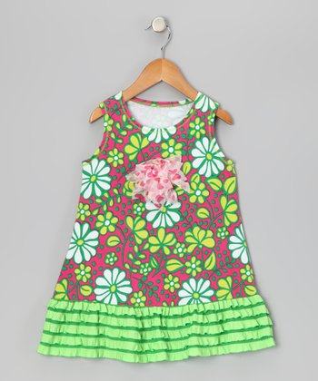 Pink & Green Floral Ruffle Dress - Toddler & Girls