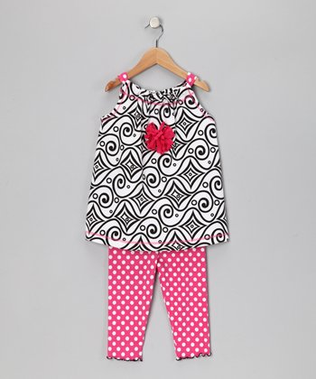 White Abstract Swing Tunic & Capri Leggings - Toddler & Girls