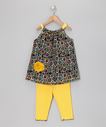 Black Circle Swing Tunic & Capri Leggings - Toddler & Girls