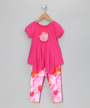 Fuchsia Handkerchief Top & Capri Leggings - Toddler & Girls