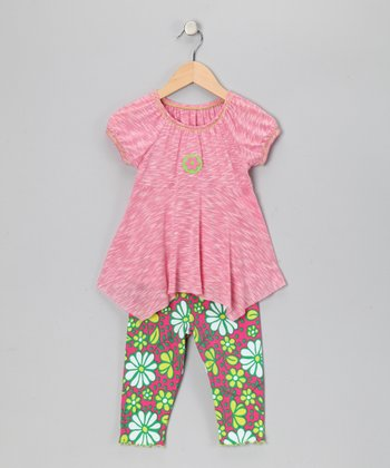 Pink Flower Handkerchief Top & Capri Leggings - Toddler & Girls