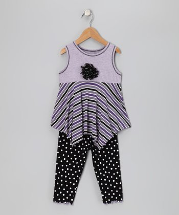 Lavender Stripe Handkerchief Top & Leggings - Toddler & Girls