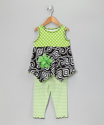 Green Polka Dot Handkerchief Top & Leggings - Toddler & Girls