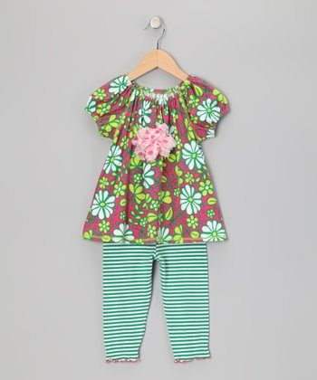 Green Floral Peasant Top & Capri Leggings - Toddler & Girls