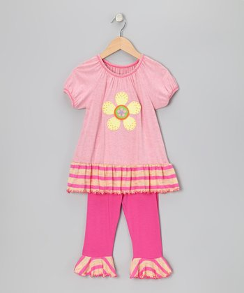 Pink Flower Peasant Top & Capri Leggings - Toddler & Girls