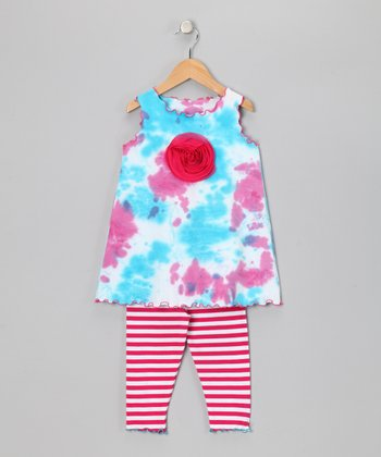 Turquoise Tie-Dye Swing Top & Capri Leggings - Toddler & Girls