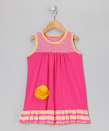 Pink & Yellow Stripe Babydoll Dress - Toddler & Girls