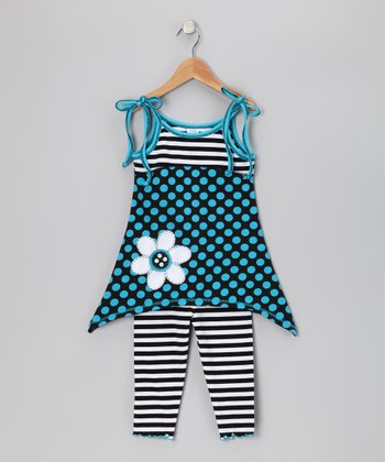 Turquoise Polka Dot Tunic & Capri Leggings - Toddler & Girls