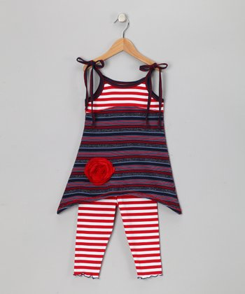 Red & Blue Stripe Tunic & Capri Leggings - Toddler & Girls