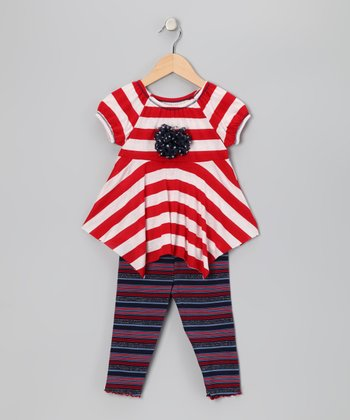 Red Stripe Handkerchief Top & Capri Leggings - Toddler & Girls
