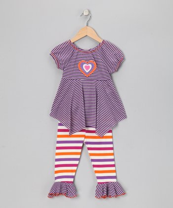 Purple Heart Handkerchief Top & Capri Leggings - Toddler & Girls