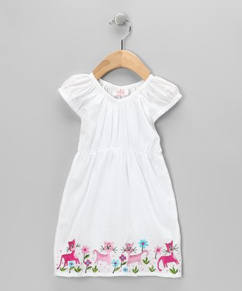 White Cat Floral Dress - Girls