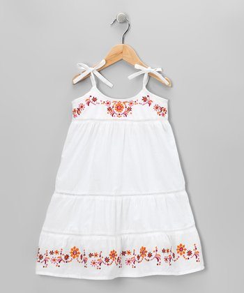 White Floral Embroidered Dress - Toddler & Girls