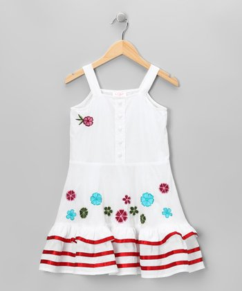 White Stripe Floral Dress - Toddler & Girls