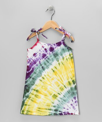 Yellow & Green Tie-Dye Shift Dress - Toddler & Girls
