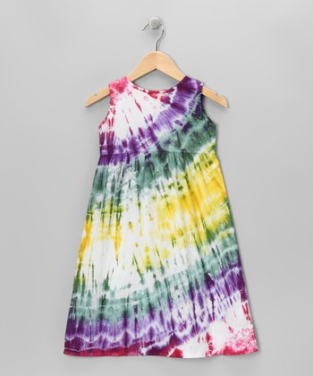 Yellow & Purple Tie-Dye Dress - Toddler & Girls