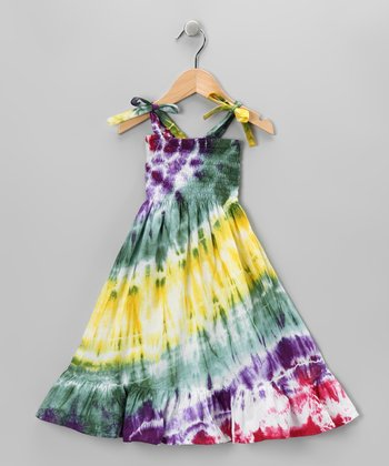 Green & Yellow Tie-Dye Dress - Infant, Toddler & Girls