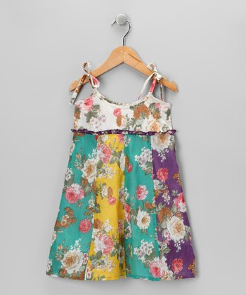 Blue & Yellow Floral Dress - Girls