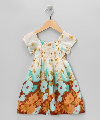 Brown & Blue Floral Dress - Girls