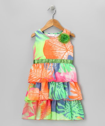 Orange & Green Ruffle Dress - Toddler & Girls
