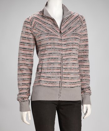 Gray Stripe Zip-Up Sweatshirt
