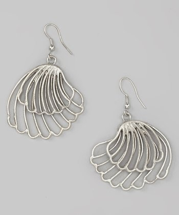 Silver Seashell Drop Earrings