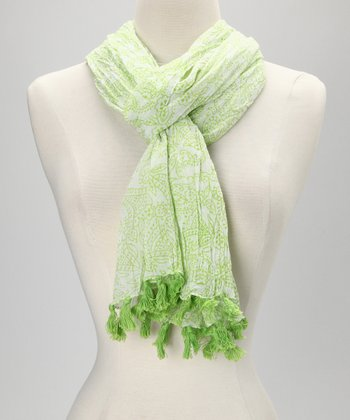 Lime Green Tassel Scarf