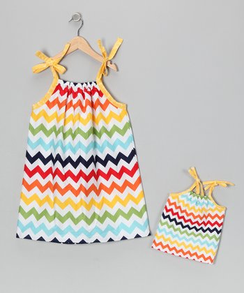 Rainbow Sundress & Doll Outfit - Toddler & Girls