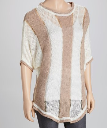 White & Taupe Stripe Crocheted Dolman Top