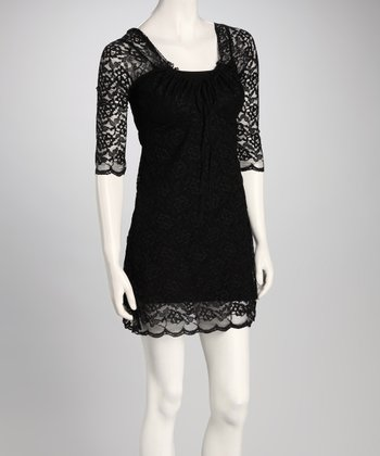 Black Lace Half-Sleeve Peasant Dress