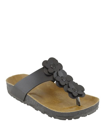 Black Flower T-Strap Sandal