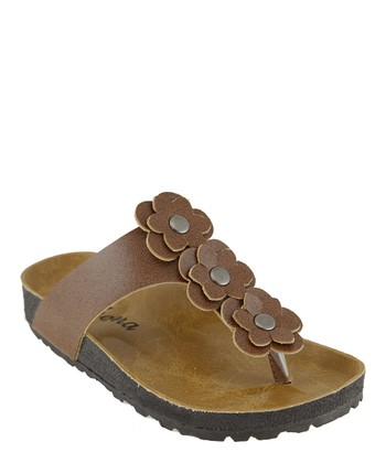 Brown Flower T-Strap Sandal