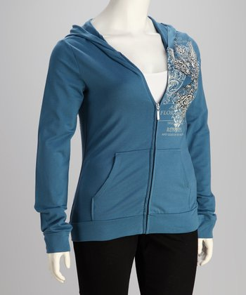 Vintage Blue Eagle Plus-Size Zip-Up Hoodie
