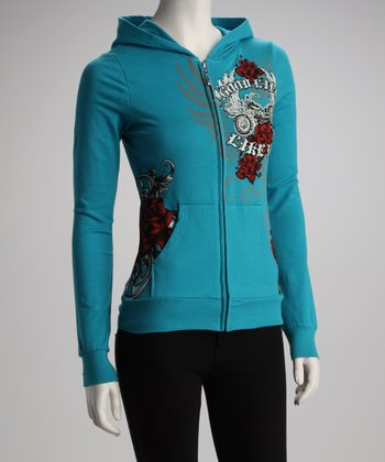 Turquoise French Terry Zip-Up Hoodie - Women