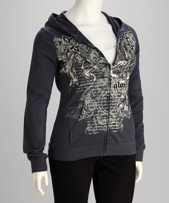 Dark Gray Eagle Plus-Size Zip-Up Hoodie