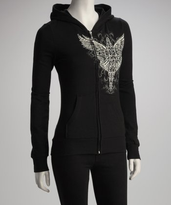 Black French Terry Zip-Up Hoodie - Women