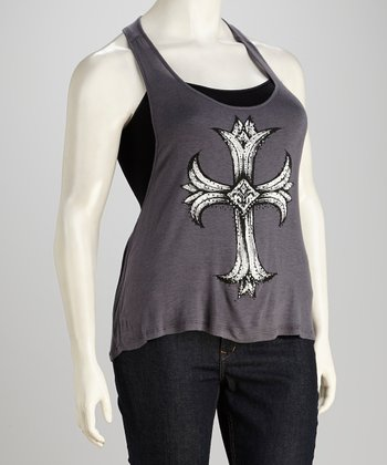 Charcoal Cross Tank - Women & Plus