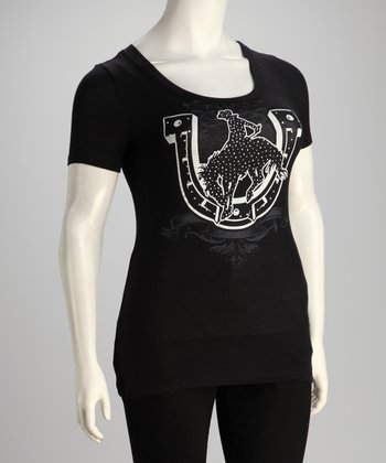 Black Horseshoe Plus-Size Top